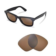 f749fe0969d Walleva Replacement Lenses for RayBan Wayfarer RB2140 50mm Sunglasses  Multiple Options AvailableBrown Polirazed