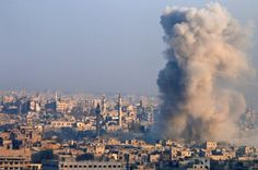 Syria's government forces killing civilians in eastern Aleppo, says UN:     Aleppo  -   Smoke rises as seen from a governement-held area of Aleppo, Syria.   Omar Sanadiki/Reuters