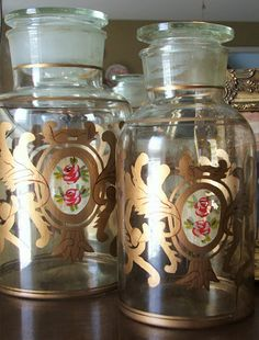 Hand-painted vintage apothecary jars.