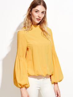 #AdoreWe #SheIn Blouses - SheIn Yellow Keyhole Mock Neck Pleated Lantern Sleeve Blouse - AdoreWe.com