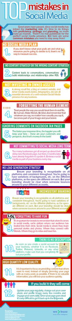12 Common Mistakes that are Ruining Your Social Media Marketing Strategy #SocialMedia #Infographic #infografía