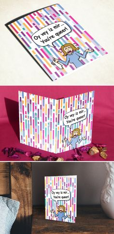 Gay LGBT funny greeting card gay lesbian bi bisexual trans transgender transsexual queer bear LGBTQ LGBTQA pride flag birthday anniversary just because gift for him for her boyfriend girlfriend dad mom brother sister gay LGBT support blessing holiday Christmas Xmas Hanukkah new year blank card I love you be yourself coming out of the closet be different gay love special occasion card Yiddish phrase