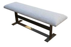 Modern Industrial Metal Bench with Upholstered Seat Cushion