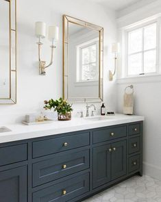 42 Super Creative DIY Bathroom Storage Projects to Organize Your Bathroom on a Budget - The Trending House Double Sink Vanity, Vanity Sink, Gold Vanity Mirror, Small Vanity, White Bathroom, Bathroom Interior, Bathroom Ideas, Bathroom Vanities, Bathroom Organization