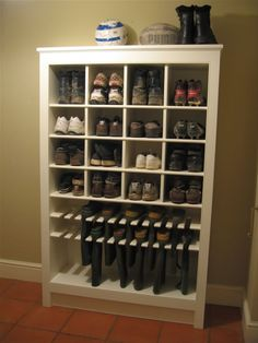 Enough room for him, and I like the boot storage. Must keep this one in mine for. Enough room for him, and I like the boot storage. Must keep this one in mine for remodel of closet. Now where do I put my shoes. Shoe Storage Design, Boot Storage, Rack Design, Storage For Shoes, Shoe Storage Ideas For Small Closets, Shoe Storage In Mudroom, Understairs Shoe Storage, Shoe Storage Display, Wooden Shoe Storage