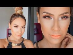 ▶ HOW TO: Top Knot + Coral Makeup - YouTube