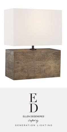 Redmond 1 - Light Table Lamp   ED Ellen DeGeneres lighting collection available now at clarksonlighting.com Ed Ellen Degeneres, Weathered Oak, Light Table, Lamp Design, Table Lamp, Bulb, Lights, Wood, Home Decor