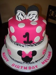 Zebra Minnie Mouse Inspired Fondant Cake Topper  Complete Set Cake Decorations - (1 tier cake). $24.95, via Etsy.