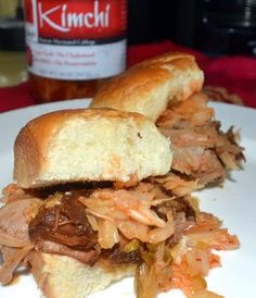 Big Island Style Pulled Pork Sliders on Hawaiian Sweet Rolls with Kimchi