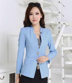 Formal Female Green Blazer Feminino Blaser Women Blazers & Jackets 2015 Fashion Business Professional Clothes Work Uniforms