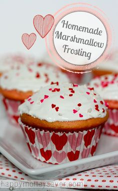 This old recipe {from 1900's recipe box} for homemade marshmallow frosting is a big winner! It is silky smooth and tastes just like melted marshmallows. Perfect on cupcakes!