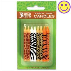 One 24 count package of #Animal Print 2.5 inch Birthday Cake Candles. Each package comes with 6 zebra print, 6 tiger print, 6 giraffe print, and 6 cheetah print ...