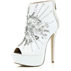 River Island White embellished open toe shoe boots ($61) ❤ liked on Polyvore featuring shoes, boots, ankle booties, heels, ankle boots, high heels, sale, white stilettos, white boots and high heel bootie