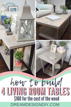 Build a set of four living room tables: coffee table, console table and end tables for $160 for the cost of the wood. Use this post to show you what materials to buy to make all four tables and make the best use of your wood.#diy #diylivingroomtables #woodprojects Diy Home Furniture, Diy Furniture Projects, Wood Projects, Woodworking Projects, Diy Home Decor On A Budget, Console Table, Diy Design, Room Ideas, Decor Ideas