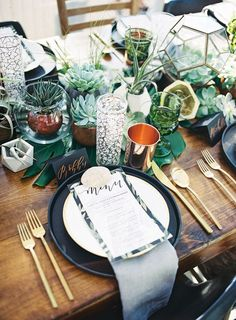 Green and copper table setting.