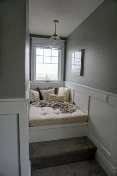 Chairs For Farmhouse Table Code: 2701569385 Dormer Bedroom, Bedroom Nook, Bedroom Windows, Bedroom Decor, Window Seat Cushions, Window Seats, Chair Cushions, Dormer Windows, Bay Windows