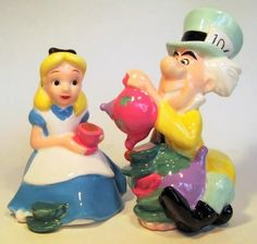 Alice and Mad Hatter salt and pepper shakers