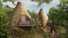 futuristic tree house Treehouse Builders, Agriculture Bio, Tree House Plans, Tree House Designs, Nest Design, Energy Efficient Lighting, Blue Forest, Isle Of Wight, Sustainable Architecture