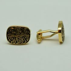 Butoni dreptunghiulari aurii cu negru Cufflinks, Stud Earrings, Jewelry, Jewlery, Bijoux, Studs, Schmuck, Stud Earring, Jewerly