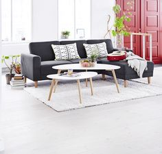 Solid oak and MDF. Outdoor Sofa, Outdoor Furniture Sets, Small Apartment Decorating, Scandinavian Living, Small Apartments, Living Room Decor, Sweet Home, Design Inspiration, House Design