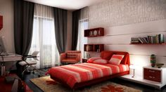 Modern Bedroom Red romantic bedroom decoration and design for couple with red theme