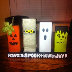 """My DIY 2x4 Spooktacular Halloween Decor!  18""""10""""9""""8""""and 8"""" some paint, white burlap and fun then done!"""