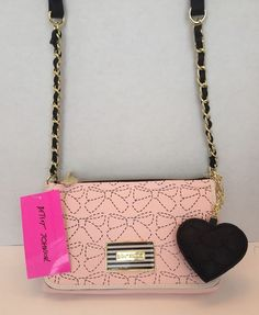 BETSEY JOHNSON NWT East West Crossbody Blush Black Bow Design & Black Heart Bag #BetseyJohnson #MessengerCrossBody