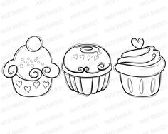 Cupcake Clip Art - candy cherry sweet chocolate cream cupcakes hand drawn food digital stamps for Teacher, Personal, COMMERCIAL USE 30003