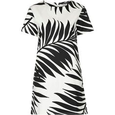 **Tropical Print Monochrome Shift Dress by Rare (1.880 RUB) ❤ liked on Polyvore featuring dresses, black, vestidos, monochrome dress, rare london, leaf dress, tropical print dresses and cap sleeve short dress