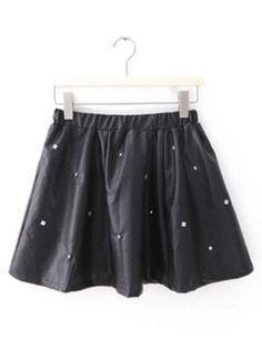 Black Elastic Waist Rivet PU Leather Skirt pictures