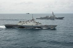 The LCS USS 'Fort Worth,' foreground, and the destroyer USS 'Sampson' in the Java Sea. U.S. Navy photo