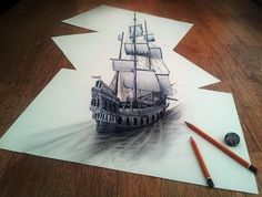 3D Pencil Sketches - drawings by Ramon Bruin seem relatively simple, but at the same time, because of their shadows and some intriguingly placed real-life props in the photographs, the sketched images appear to be almost magically leaving the bounds of the paper they're drawn on.