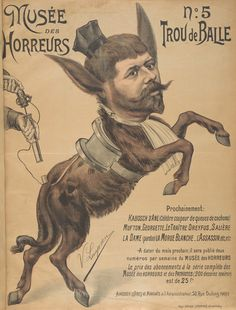 No. 5 Trou de Balle. From Duke Digital Collections. Collection: Musée des Horreurs. Caricature of Fernand Labori (1860-1917) with a clerical cap and collar, and the body of a donkey.  Labori was Dreyfus' defense lawyer.