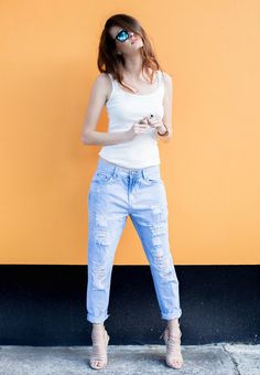 Colour: Blue Wash Fabric: Denim Fit: Non-stretch denim Button fly Five pocket styling Whiskering and natural fading Front Distressed Detailing Relaxed boyfrien Boyfriend Jeans, Mom Jeans, Street Chic, Street Style, Stretch Denim, 30th, Cart, Shopping, Collection
