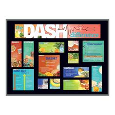 """Includes two 5-1/2"""" x 17"""" title header pieces and a variety of laminated cards. Sized to fit a 3' x 4' bulletin board. Bulletin board not included. Discover one of the best methods for healthy eating by following the advice featured on The DASH Difference Bulletin Board Kit. Dietary Approaches to Stop Hypertension (DASH) encourages foods that are low fat, low sodium, high fiber, and rich in heart-healthy calcium, potassium, and magnesium to help lower blood pressure. 2014 Gold Health Information Nutrition Poster, Dash Diet, Lower Blood Pressure, Teaching Materials, Nutrition Education, Bulletin Boards, Header, Encouragement, Fiber"""