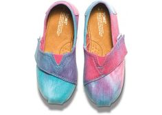 Pink and Blue Tie Dye Tiny TOMS Classics | TOMS.com