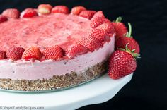 Strawberry Ice Cream Cake is Vegan, Gluten-free, & Paleo. Made with only clean eating, healthy ingredients. Strawberry Ice Cream Cake made w/ Coconut cream