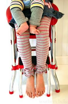 Baby and kid leg warmers from socks