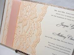Real Lace Wedding Invitations | LUNA Glitter and Lace Wedding Invitations by LavenderPaperie1