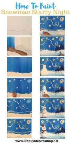 How To Paint Snowman Starry Night - Tracie's Acrylic Canvas Tutorials. Step by step painting for the absolute beginner of all ages. art How To Paint A Snowman Starry Night - Step By Step Painting Paint And Sip, How To Paint, Canvas Painting Tutorials, Diy Painting, Beginner Painting, Winter Painting, Fabric Painting, Acrylic Canvas, Canvas Art