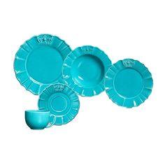 Aparelho De Jantar Windsor Poppy Premium Porto Brasil Cerâmica Azul 30 Peças - Shoptime