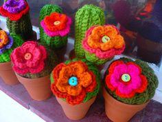 crochet flowers in pots :) so nice