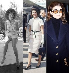 Jacqueline Kennedy Onassis's style is classic: navy peacoat over a black turtleneck, kitten heels, and a wide brimmed hat