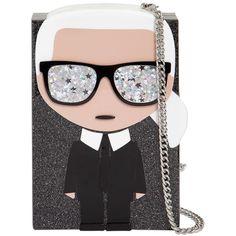 Karl Lagerfeld Women K/ikonik Karl Glittered Box Clutch found on Polyvore featuring bags, handbags, clutches, black, metal purse, glitter purse, chain strap purse, glitter box clutch and karl lagerfeld purse