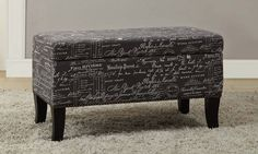 Storage Ottoman Bench Ottomans Rectangle Upholstered Printed Linen Fabric Grey  #Linon #Traditional