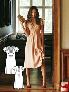 V-Neck dress 12/2011 #burdastyle