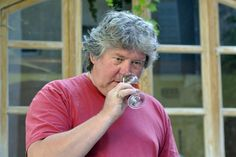Francois Faverot tasting his Cote du Luberon wine at the Domaine Faverot in Maubec.