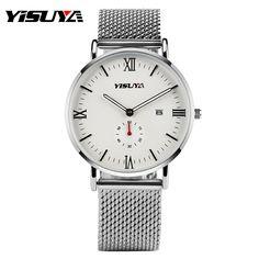 YISUYA Mens Formal Watch Women Brief Date Day Wrist Watch Hook Buckle Business Stainless Steel Mesh Band Strap Quartz Hour Clock