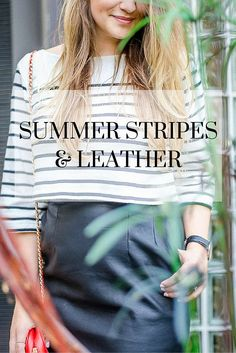Summer Stripes & Leather Outfit www.rosecitystyleguide.com