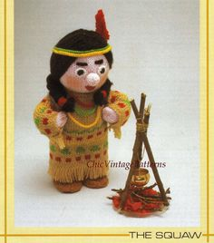 Knitted Soft Toy Pattern ... Indian Squaw by ChicVintagePatterns
